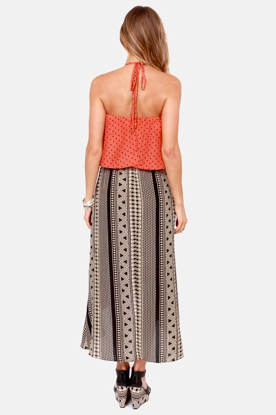 Exotic Print-cess Orange Print Dress at Lulus.com!