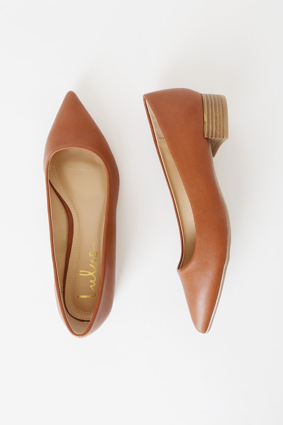 Alessia Camel Low Pointed-Toe Heels
