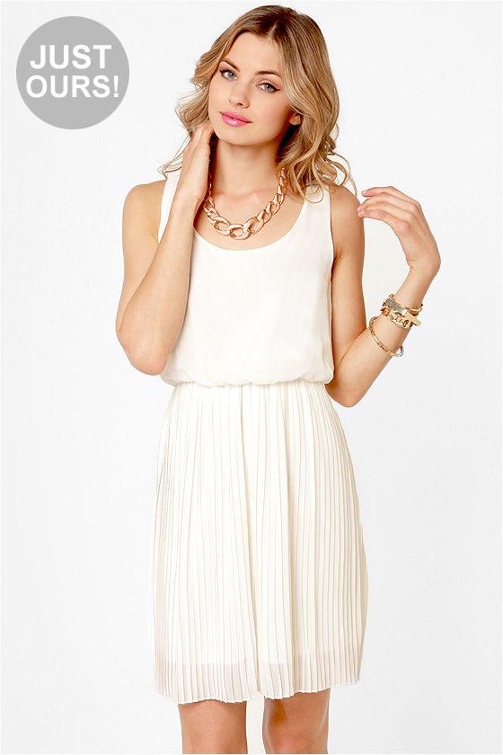 bb8c7f9fb93 Pretty Ivory Dress - Pleated Dress - Off-White Dress -  45.00