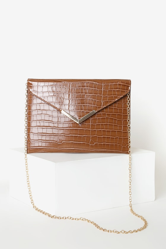 Vintage Handbags, Purses, Bags *New* Really Like You Brown Crocodile Embossed Envelope Clutch - Lulus $25.00 AT vintagedancer.com
