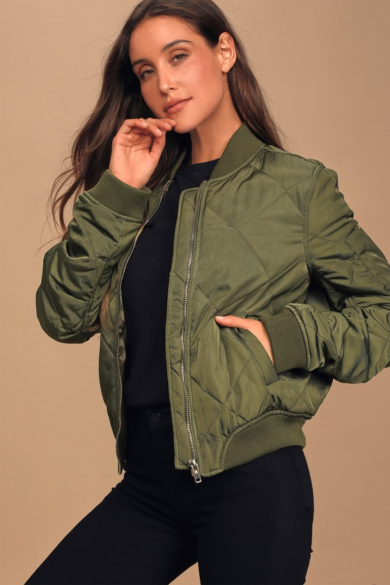 Style Expedition Olive Green Quilted Bomber Jacket