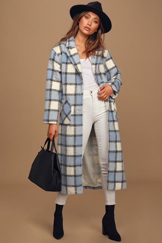 Vintage Coats & Jackets | Retro Coats and Jackets Warm Front Light Blue Plaid Coat - Lulus $130.00 AT vintagedancer.com