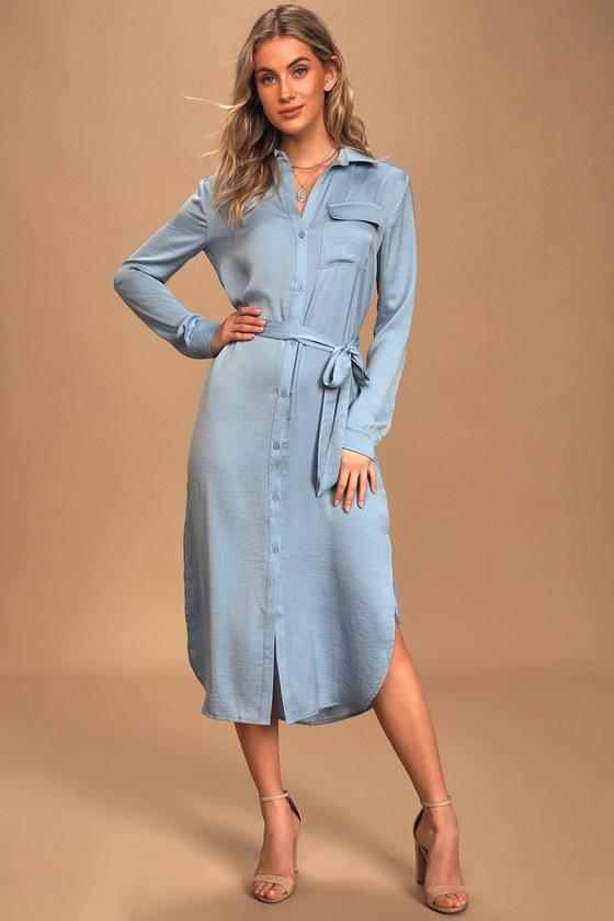 Chic For Yourself Light Blue Satin Midi Shirt Dress