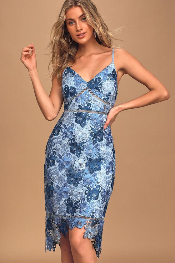 Endless Elegance Blue Multi Lace Bodycon Dress
