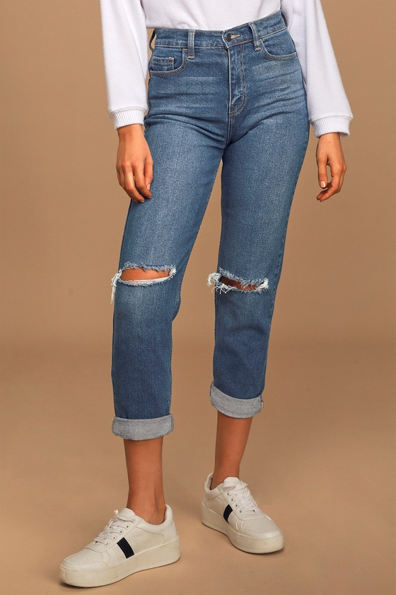 Love to Eternity Medium Wash High Rise Distressed Mom Jeans
