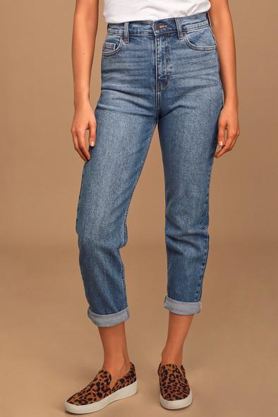 Miss Diva Medium Wash High-Rise Straight Leg Jeans