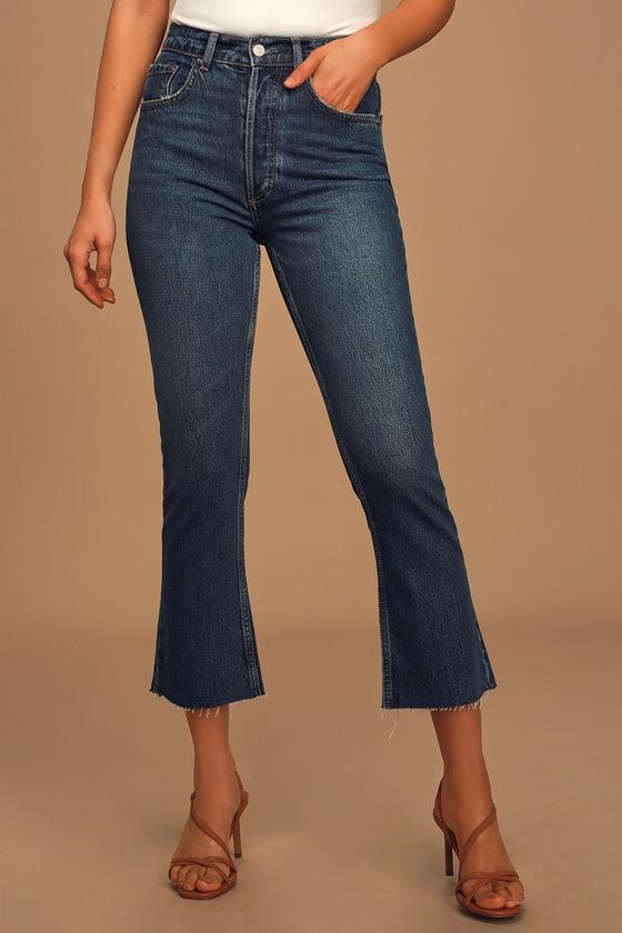 Boyish Darcy Dark Wash High-Rise Cropped Flare Jeans
