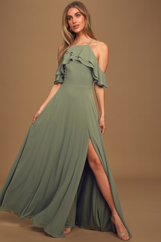 Stun and Only Sage Brush Ruffled Off-the-Shoulder Maxi Dress