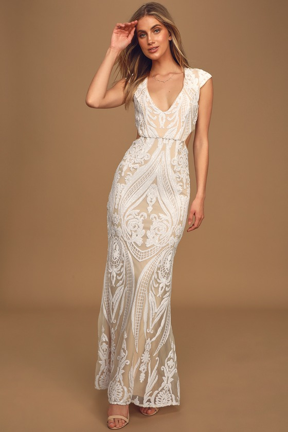 Always Adored White and Nude Sequin Mermaid Maxi Dress