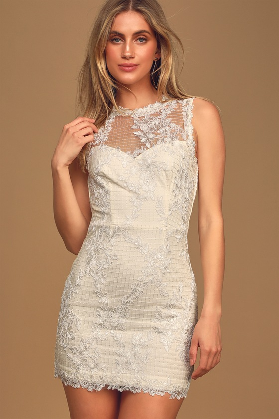 Flirtatious Love Ivory Lace Embroidered Bodycon Mini Dress