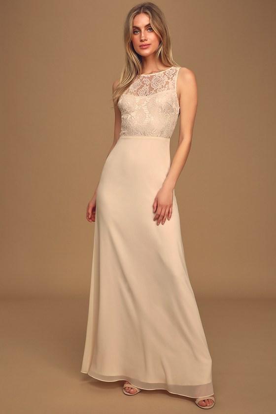 Falling in Love Gardenia Sleeveless Lace Maxi Dress