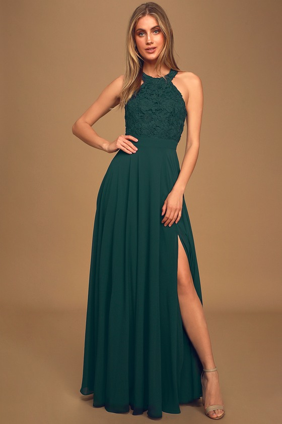 Picture Perfect Emerald Green Lace Maxi Dress