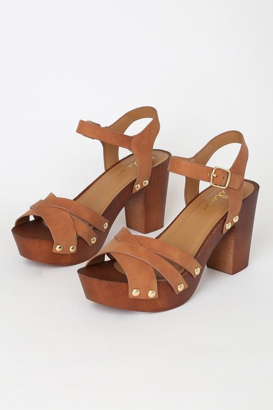 70s Shoes, Platforms, Boots, Heels Talia Camel Distressed Nubuck Wooden Platform Heels - Lulus $33.00 AT vintagedancer.com