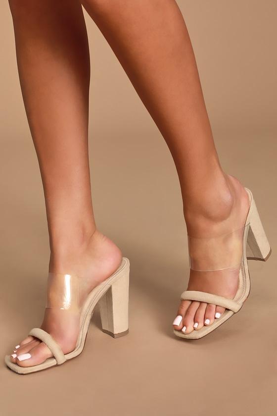 Camel Suede Heels - High Heel Sandals