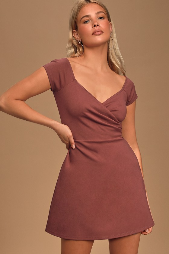 Chic Rusty Rose Dress - Skater Dress - Short Sleeve Ruched Dress