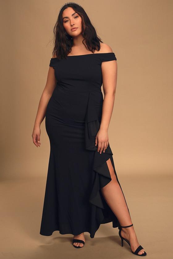 Mila Black Ruffled Off-the-Shoulder Maxi Dress