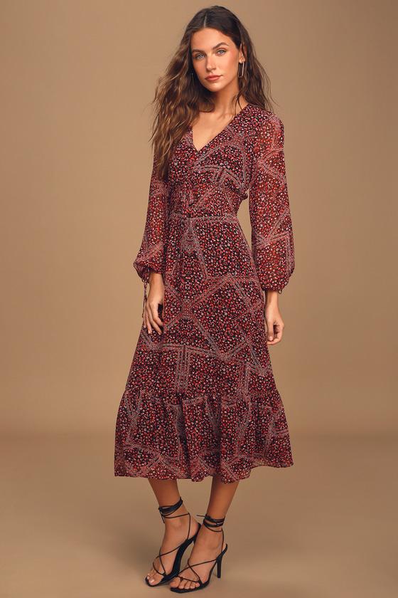 Multi-Print Long Sleeve Midi Dress - Boho Dress - Floral Dress
