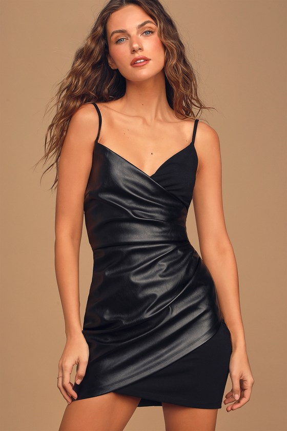 Taking Me There Black Vegan Leather Ruched Bodycon Mini Dress