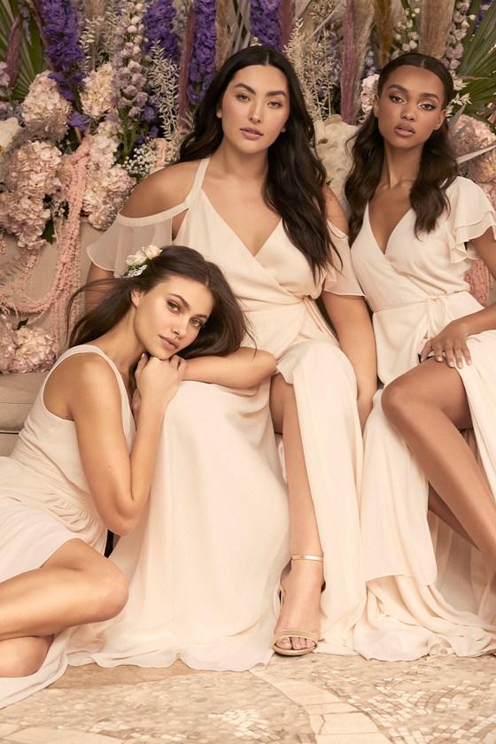Easy Listening Gardenia Cold-Shoulder Wrap Maxi Dress - Lulus
