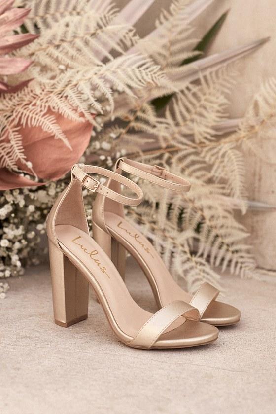 Rose Gold Heels - Ankle Strap Heels