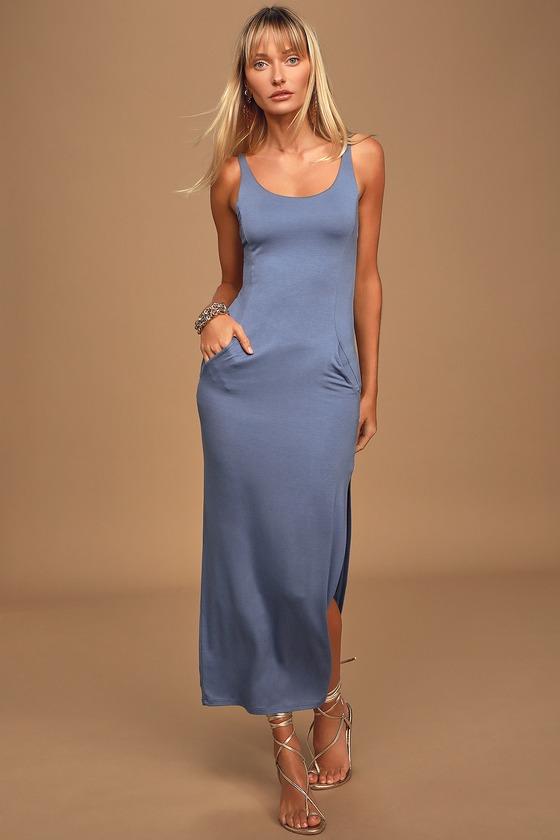 Your Everything Slate Blue Sleeveless Maxi Dress