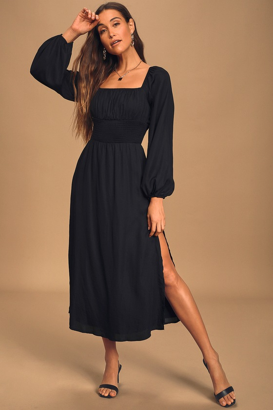 Moonlit Path Black Smocked Long Sleeve Midi Dress