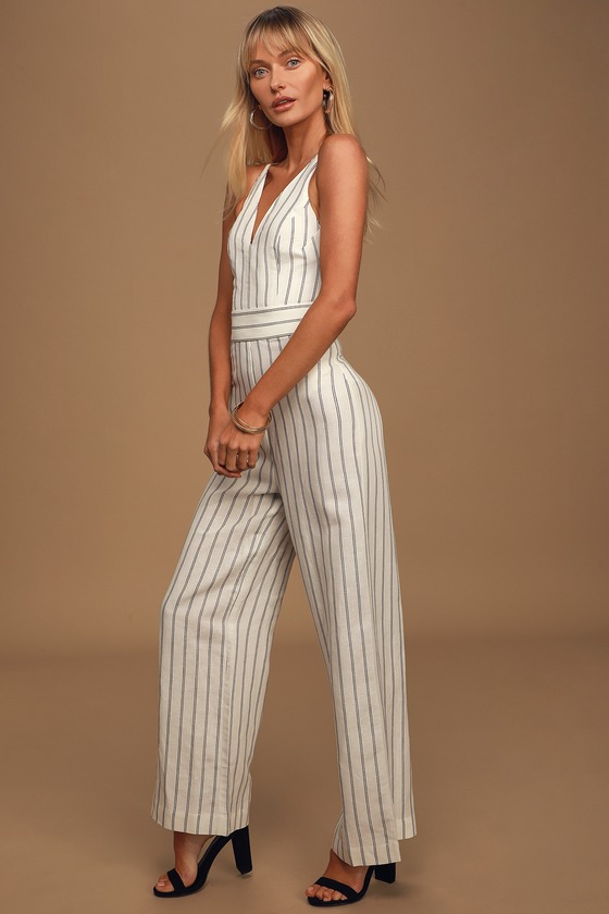 Q&A7 Vacation Ahoy Black and White Striped Jumpsuit