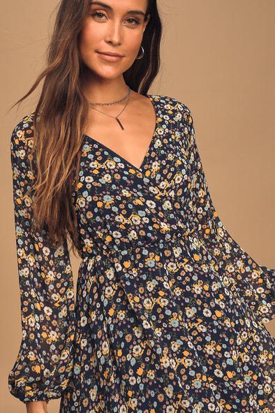 Bloom For Me Navy Blue Floral Print Long Sleeve Skater Dress
