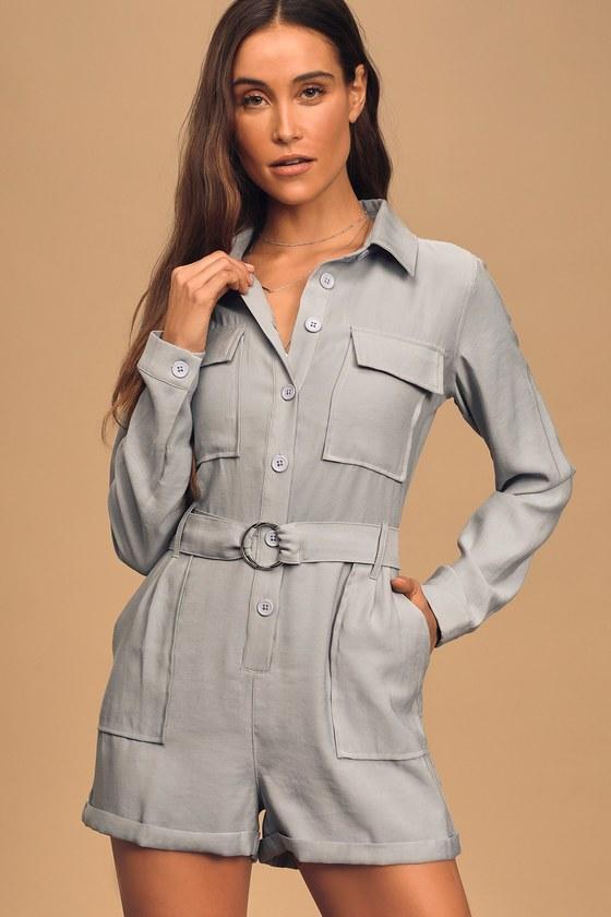 70s Shorts | Denim, High Rise, Athletic Safari Bound Light Blue Long Sleeve Button-Up Romper - Lulus $47.00 AT vintagedancer.com