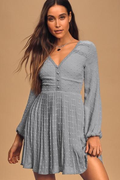 Poetic Love Dusty Blue Swiss Dot Long Sleeve Pleated Mini Dress