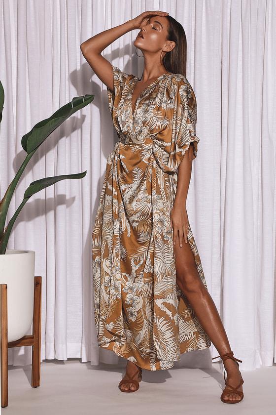 Take A Holiday Tan Tropical Print Kimono Sleeve Maxi Dress