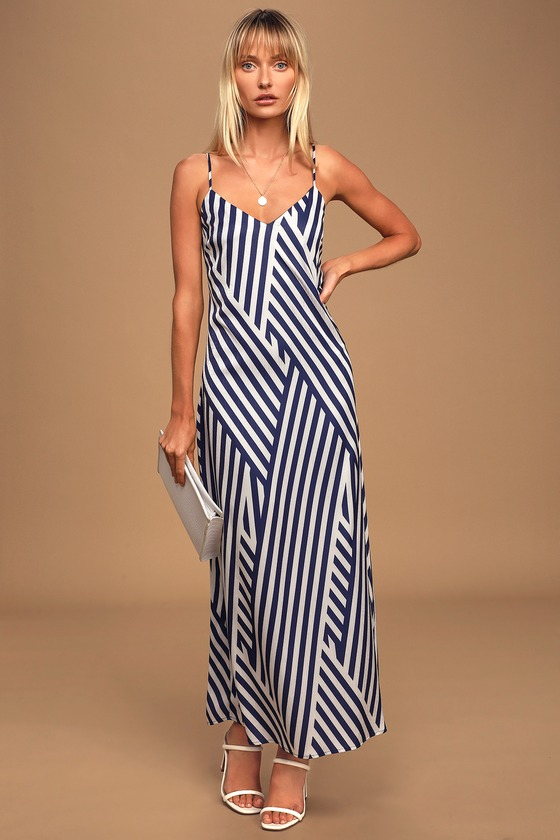 Q&A7 All Day Long Navy Blue and White Striped Maxi Slip Dress