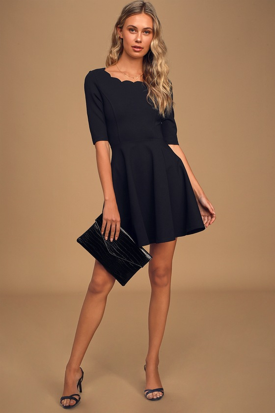Tip the Scallops Black Scalloped Skater Dress