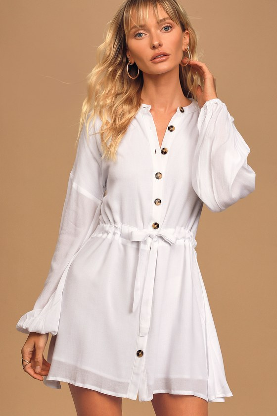 Charlie Holiday Cali White Long Sleeve Button-Up Mini Dress
