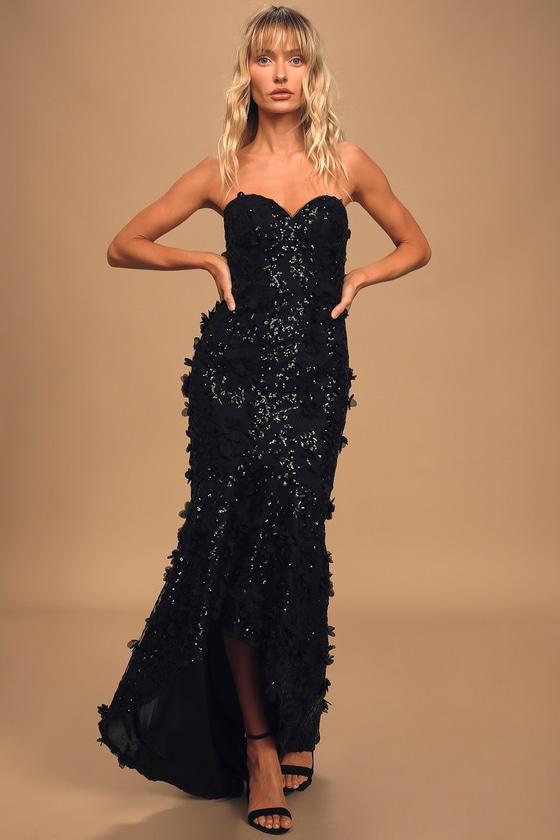 Bariano Meagan Black Sequin High-Low Maxi Dress