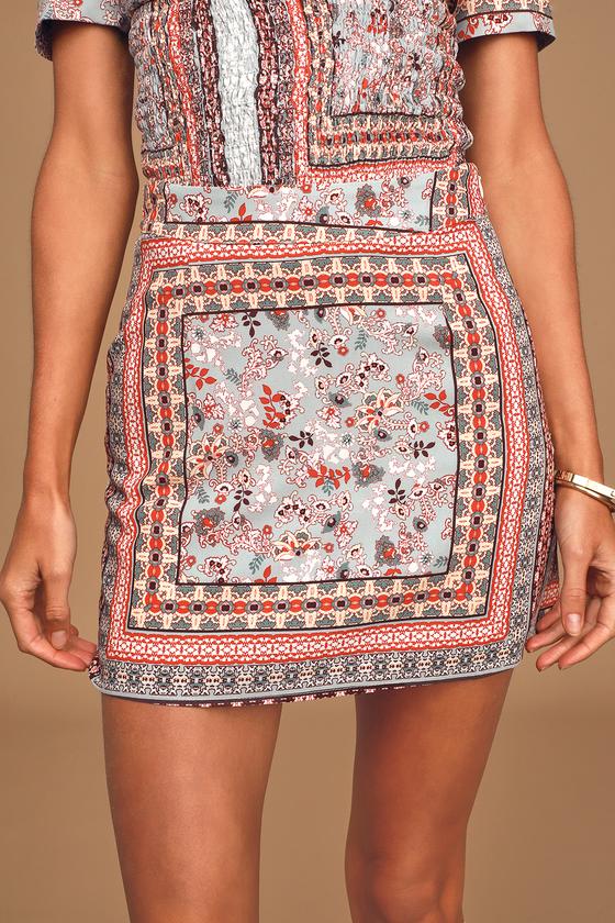 Sage The Label Morning Sun Light Blue Multi Print Mini Skirt