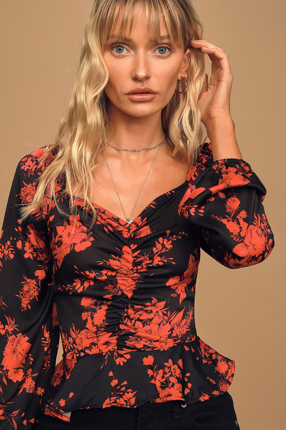 Ready for Romance Black Floral Print Ruched Long Sleeve Top