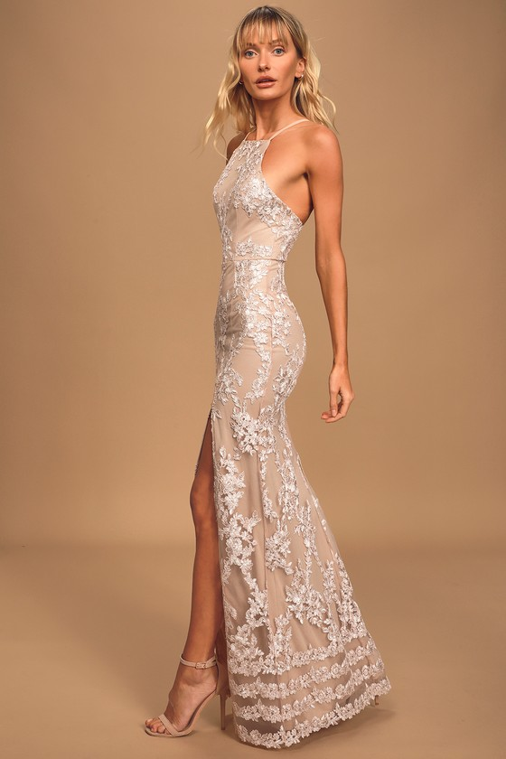 Dazzled Up Champagne Embroidered Backless Maxi Dress
