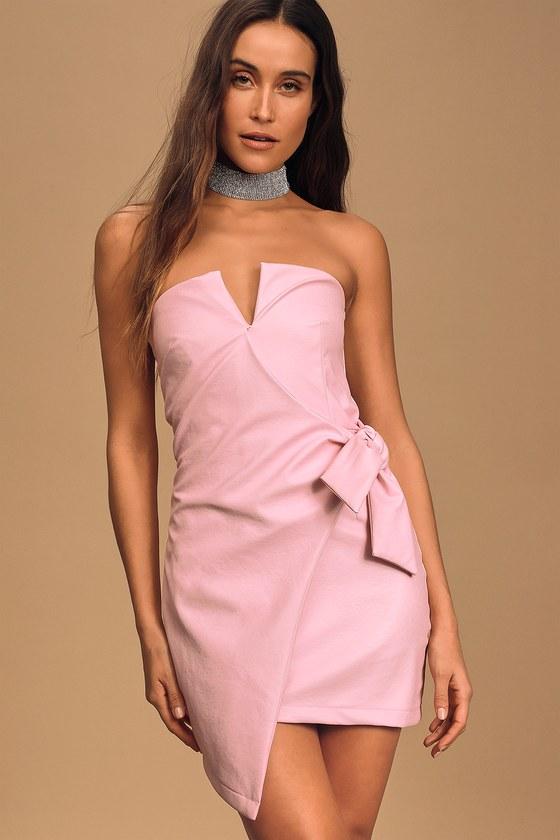 4Si3nna Kalila Light Pink Vegan Leather Strapless Side Tie Mini Dress