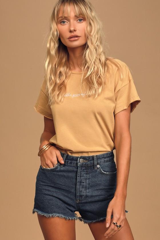 Women's 70s Shirts, Blouses, Hippie Tops Led Zeppelin 1975 Tour White Graphic Boyfriend Tee - Lulus $54.00 AT vintagedancer.com