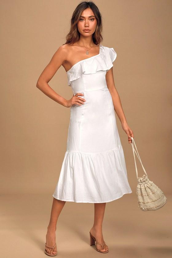 Sun-Kissed Memories White One-Shoulder Ruffled Midi Dress