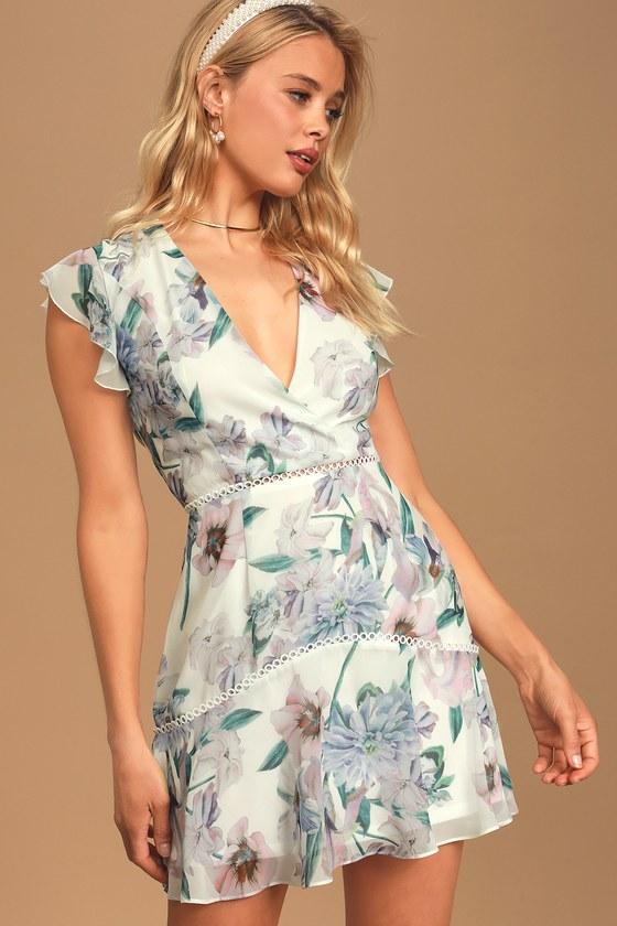 Art of Love White Multi Floral Print Ruffled Mini Dress