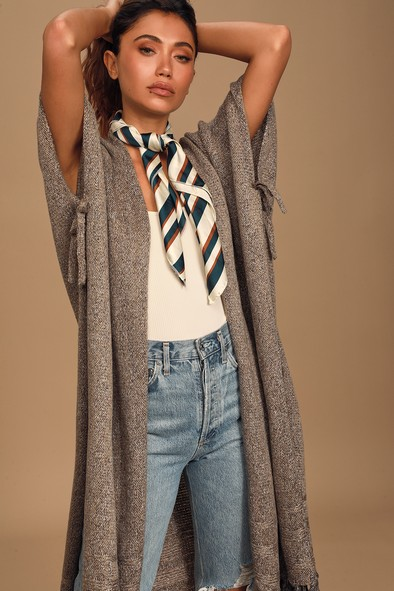 Just Loving You Heather Taupe Knit Wrap