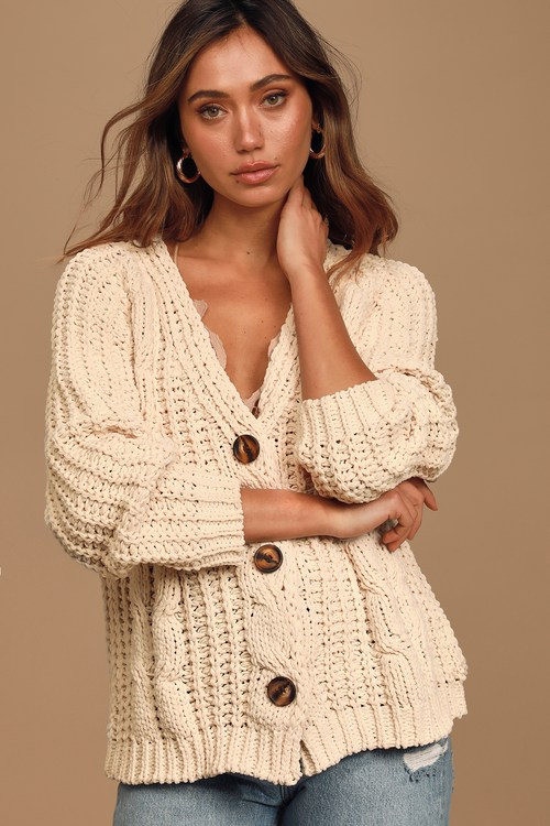 A Toast To Cozy Cream Chenille Cable Knit Cardigan