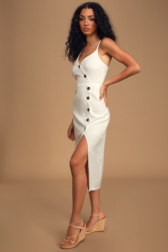 LUSH Terrace Sunset White Button-Front Midi Dress