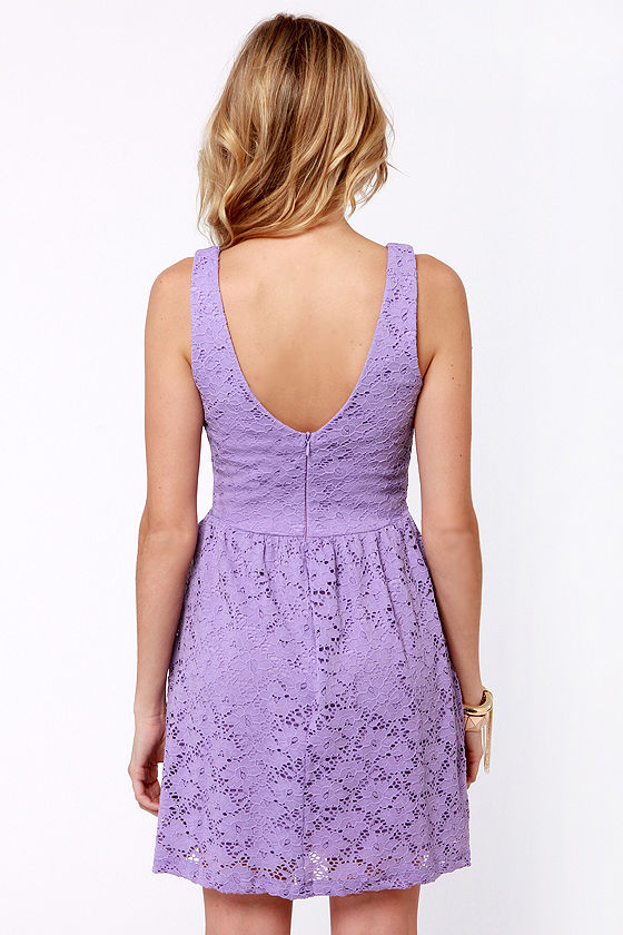 Cute Lavender Dress - Lace Dress - Purple Dress - $41.00