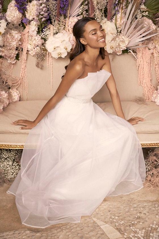 Serenity White Strapless Organza Maxi Dress - Lulus