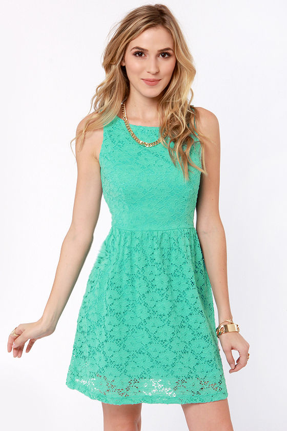 Cute Mint Blue Dress Lace Dress Mint Dress 4100