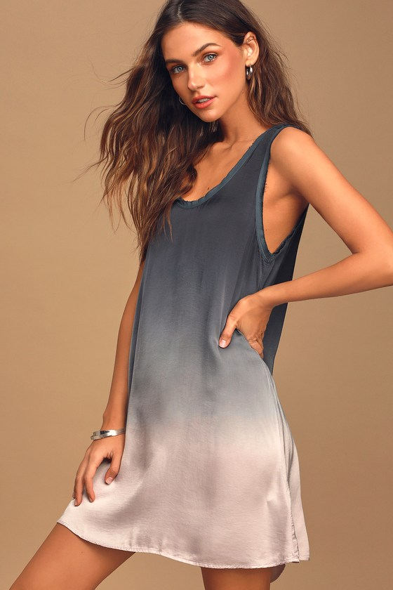 On The Road Satin Dress - Blue Ombre Dress - Casual Shift Dress