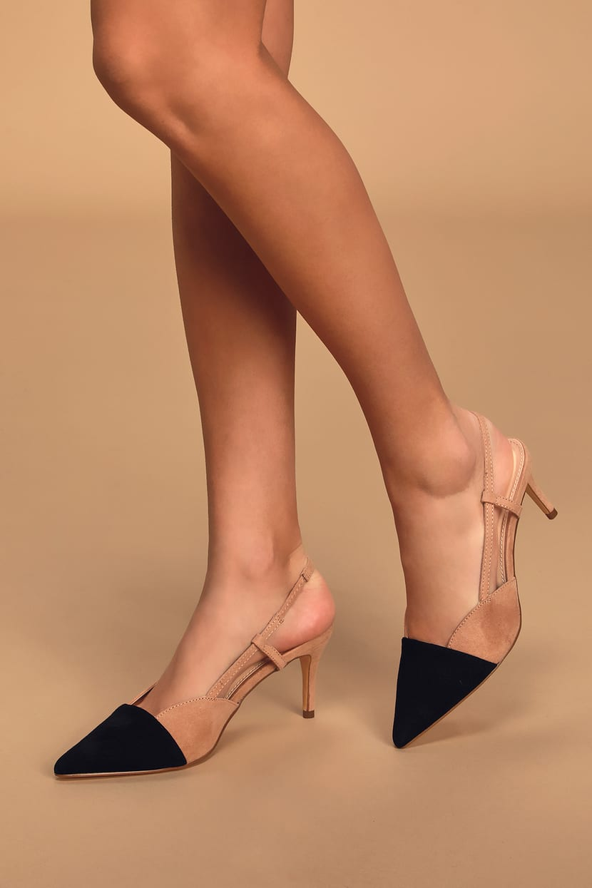 Nude And Black Heels